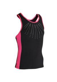 DOMYOS - Top do gimnastyki 500 damski. Kolor: czarny, różowy, wielokolorowy. Materiał: elastan, poliester, materiał. Sport: joga i pilates