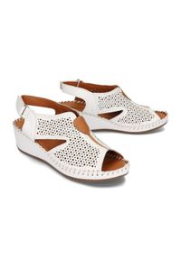 Białe sandały Artiker Relaks na rzepy, na koturnie