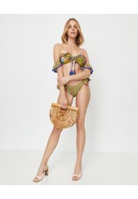 ANJUNA - Top od bikini Ombretta. Kolor: zielony. Materiał: tkanina, dzianina. Wzór: kwiaty, aplikacja
