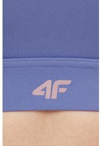 4f - 4F - Biustonosz sportowy. Kolor: fioletowy. Materiał: włókno. Rodzaj stanika: odpinane ramiączka, wyciągane miseczki