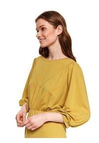 TOP SECRET - Taliowana sukienka. Okazja: do pracy, na imprezę. Kolor: żółty. Materiał: materiał. Wzór: gładki. Sezon: wiosna