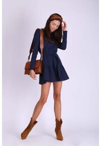 Nommo - Granatowa Krótka Dziewczęca Sukienka z Falbanką. Kolor: niebieski. Materiał: bawełna. Długość: mini