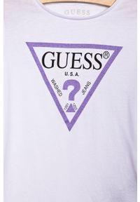 Biała bluzka Guess Jeans z nadrukiem, z okrągłym kołnierzem