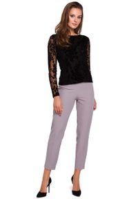 Czarna bluzka z długim rękawem MAKEOVER w koronkowe wzory, elegancka