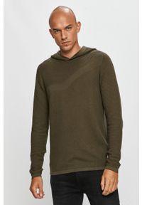 Zielony sweter Jack & Jones na co dzień, długi, z kapturem, z długim rękawem