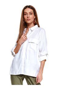 TOP SECRET - Biała koszula z podwijanymi rękawami. Okazja: na co dzień, do pracy. Kolor: biały. Długość rękawa: długi rękaw. Długość: długie. Wzór: gładki, aplikacja. Sezon: wiosna. Styl: elegancki, casual