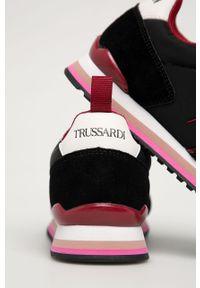 Czarne buty sportowe Trussardi Jeans na sznurówki, z cholewką