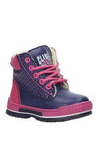 Niebieskie buty zimowe Casu w grochy