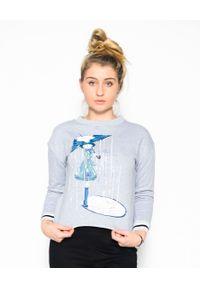 EMMA & GAIA - Szara bluza z nadrukiem. Kolor: szary. Materiał: jeans, materiał. Wzór: nadruk. Styl: sportowy