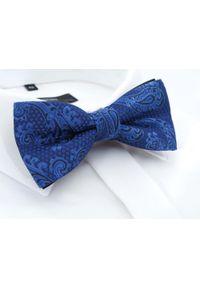 Modini - Niebieska mucha we wzór paisley C4. Kolor: niebieski. Materiał: tkanina, poliester. Wzór: paisley. Styl: elegancki