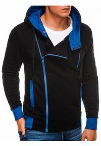 Ombre Clothing - Bluza męska rozpinana z kapturem B297 - czarna - XXL. Typ kołnierza: kaptur. Kolor: czarny. Materiał: poliester, dzianina, bawełna