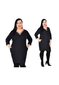 Czarna sukienka dla puszystych Moda Size Plus Iwanek plus size, na jesień
