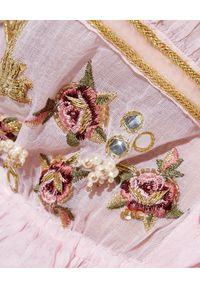GADO GADO - Różowy top Gypsy Bouqu. Kolor: różowy, fioletowy, wielokolorowy. Materiał: jeans, koronka, bawełna. Wzór: haft, aplikacja. Sezon: lato. Styl: elegancki, klasyczny, wakacyjny