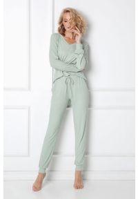 Oliwkowa piżama Aruelle gładkie, długa