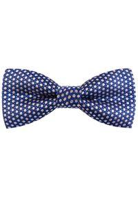 Modini - Niebieska mucha w białe kropki C13. Kolor: niebieski, biały, wielokolorowy. Materiał: tkanina, poliester. Wzór: kropki. Styl: elegancki