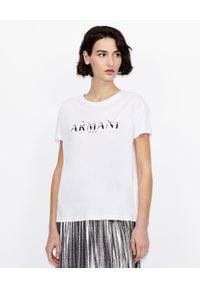 Armani Exchange - ARMANI EXCHANGE - Biały logowany T-shirt. Okazja: na co dzień. Kolor: biały. Materiał: bawełna, jeans. Wzór: nadruk. Styl: klasyczny, casual