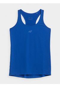 4f - Top treningowy slim szybkoschnący damski. Kolor: niebieski. Materiał: skóra, włókno, dzianina