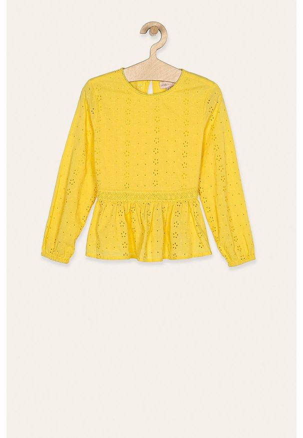 Żółta bluzka Kids Only z haftami, długa, na co dzień, z okrągłym kołnierzem