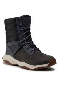 Szare buty zimowe The North Face z cholewką, na co dzień