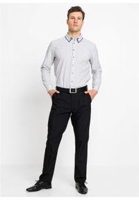 Biała koszula bonprix z nadrukiem, z podwójnym kołnierzykiem, biznesowa, na spotkanie biznesowe