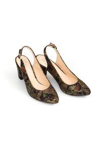 Zapato - kolorowe czółenka na słupku z odkrytą piętą - skóra naturalna - model 972/5 - kolor złota mozaika. Kolor: złoty. Materiał: skóra. Wzór: kolorowy. Obcas: na słupku