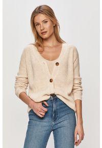 Kremowy sweter rozpinany Vila długi, z długim rękawem