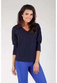 Niebieska bluzka z długim rękawem Nommo z dekoltem w kształcie v