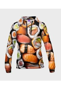 MegaKoszulki - Bluza damska fullprint z kapturem Sushi z bliska. Typ kołnierza: kaptur. Materiał: dresówka, dzianina