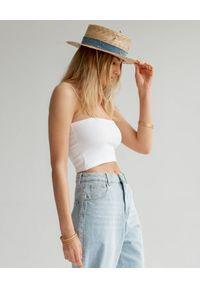 LESHKA - Kapelusz z pozłacanymi detalami Jeans Cantotier. Kolor: beżowy. Materiał: jeans. Wzór: aplikacja
