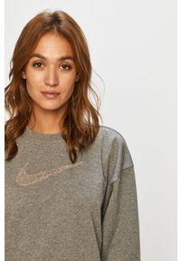 Szara bluza Nike bez kaptura, z aplikacjami