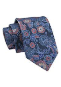 Klasyczny Krawat Męski Granatowo-Niebieski, Wzór Paisley, Kwiatki, Elegancki, 7 cm -Angelo di Monti. Kolor: niebieski. Materiał: tkanina. Wzór: paisley, kwiaty. Styl: klasyczny, elegancki
