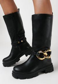 Born2be - Czarne Kozaki Parthano. Nosek buta: okrągły. Zapięcie: pasek. Kolor: czarny. Materiał: dzianina, skóra. Szerokość cholewki: normalna. Obcas: na obcasie