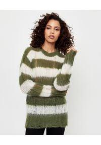 GOLDEN GOOSE - Sweter w paski. Kolor: biały. Materiał: materiał. Długość rękawa: długi rękaw. Długość: długie. Wzór: paski. Sezon: lato. Styl: klasyczny
