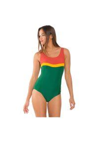 Strój kąpielowy Rontil Wave 209. Kolor: zielony, brązowy, wielokolorowy. Materiał: włókno, dzianina, elastan, poliamid