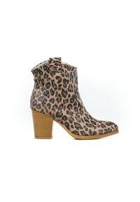 Zapato - panterkowe botki kowbojki - skóra naturalna - model 471 - kolor panterka. Materiał: skóra. Wzór: motyw zwierzęcy