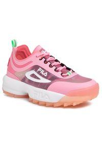 Różowe buty sportowe Fila z cholewką, na płaskiej podeszwie, do biegania