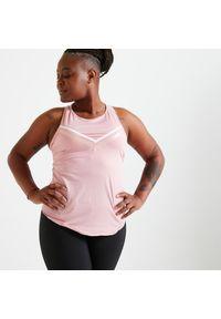 DOMYOS - Koszulka fitness bez rękawów damska Domyos. Kolor: różowy. Materiał: poliester, materiał, elastan. Długość rękawa: bez rękawów. Długość: długie. Sport: fitness