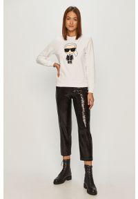 Biała bluza Karl Lagerfeld z aplikacjami, długa