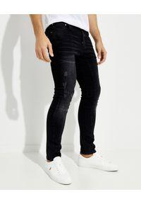 Les Hommes - LES HOMMES - Czarne jeansy z przetarciami. Okazja: na co dzień. Kolor: czarny. Styl: casual