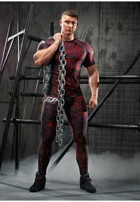Czerwona koszulka sportowa FJ! z krótkim rękawem, na fitness i siłownię, z nadrukiem, krótka