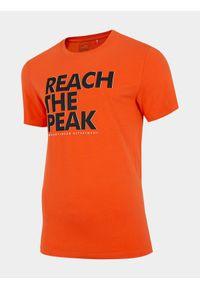 4f - T-shirt męski. Kolor: pomarańczowy. Materiał: dzianina, jersey, poliester