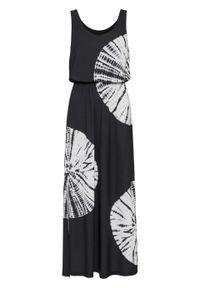 Długa sukienka z batikowym nadrukiem i ozdobnymi kamieniami bonprix czarno-biel wełny z nadrukiem. Kolor: czarny. Materiał: wełna. Wzór: nadruk. Długość: maxi