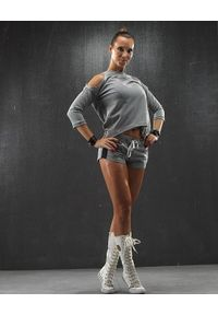 Szare spodenki sportowe FJ! na fitness i siłownię, krótkie