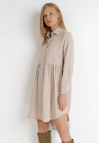 Born2be - Beżowa Sukienka Kassobe. Kolor: beżowy. Materiał: tkanina. Typ sukienki: koszulowe. Długość: midi