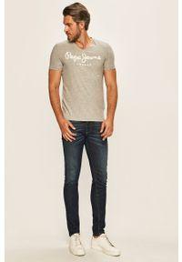 Pepe Jeans - T-shirt Original. Okazja: na co dzień. Kolor: szary. Materiał: dzianina. Wzór: nadruk. Styl: casual