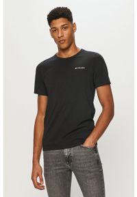 columbia - Columbia - T-shirt. Okazja: na co dzień. Kolor: czarny. Materiał: włókno, dzianina, skóra, syntetyk. Wzór: jednolity, ze splotem, gładki. Styl: casual