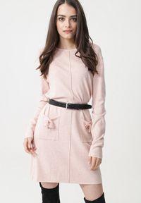 Born2be - Jasnoróżowa Sukienka Avina. Typ kołnierza: kokarda. Kolor: różowy. Materiał: dzianina. Długość rękawa: długi rękaw. Wzór: prążki, aplikacja. Typ sukienki: proste
