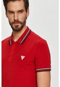 Czerwona koszulka polo Guess z nadrukiem, krótka, polo