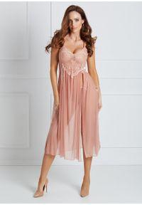 Saintmiss - Koszula nocna z wiązaniem na plecach // Jeanne - Uniwersalny, Różowy. Kolor: różowy. Materiał: tkanina, satyna, koronka. Długość: długie. Wzór: aplikacja
