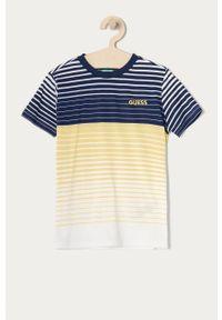 Żółty t-shirt Guess casualowy, na co dzień